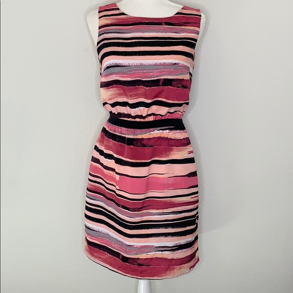LOFT Dresses & Skirts - Loft Pink Striped Sheath Dress